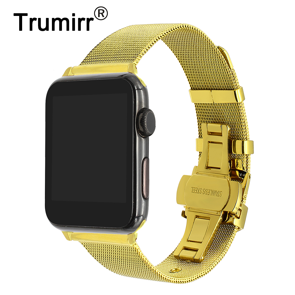 Milanese Stainless Steel Watchband + Adapter for iWatch Apple Watch 38mm 42mm Series 1 2 3 Wrist Band Link Strap Bracelet Silver milanese watchband butterfly buckle strap for iwatch apple watch band 38mm 42mm series 1 2 3 stainless steel band wrist bracelet