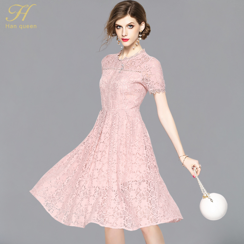 74df1d7c61 Detail Feedback Questions about H han queen Vestidos New Summer Fashion  Hollow Out Pink Party Lace Dress High Quality Women O Neck Sexy Slim Casual  Dresses ...