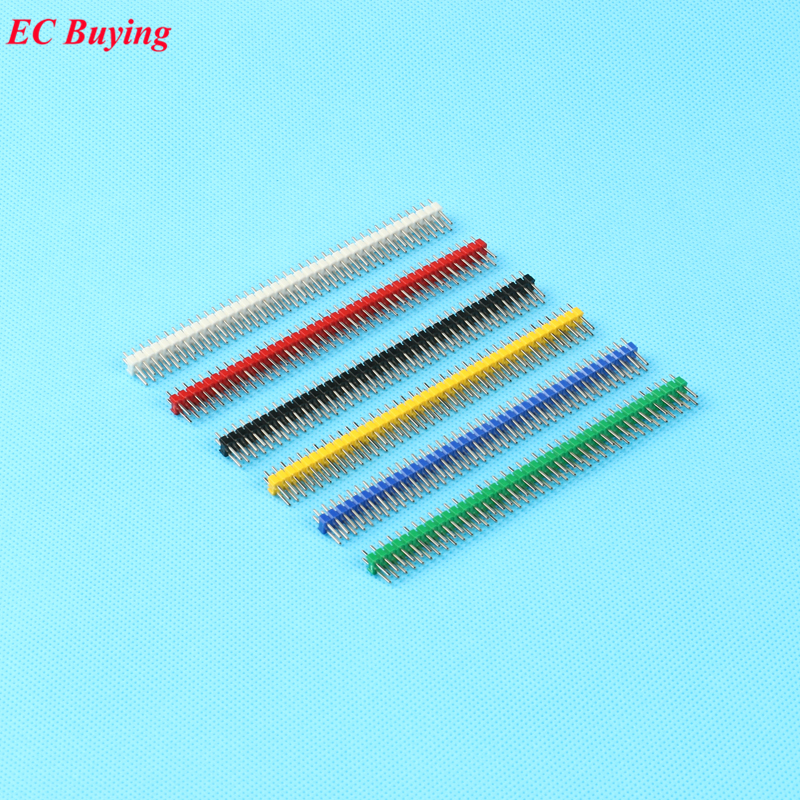 30 pcs/set 2.54mm Black + White + Red + Yellow + Blue + Green 2X40 Double Row Pin Male Header Strip Copper-Plated Colorful