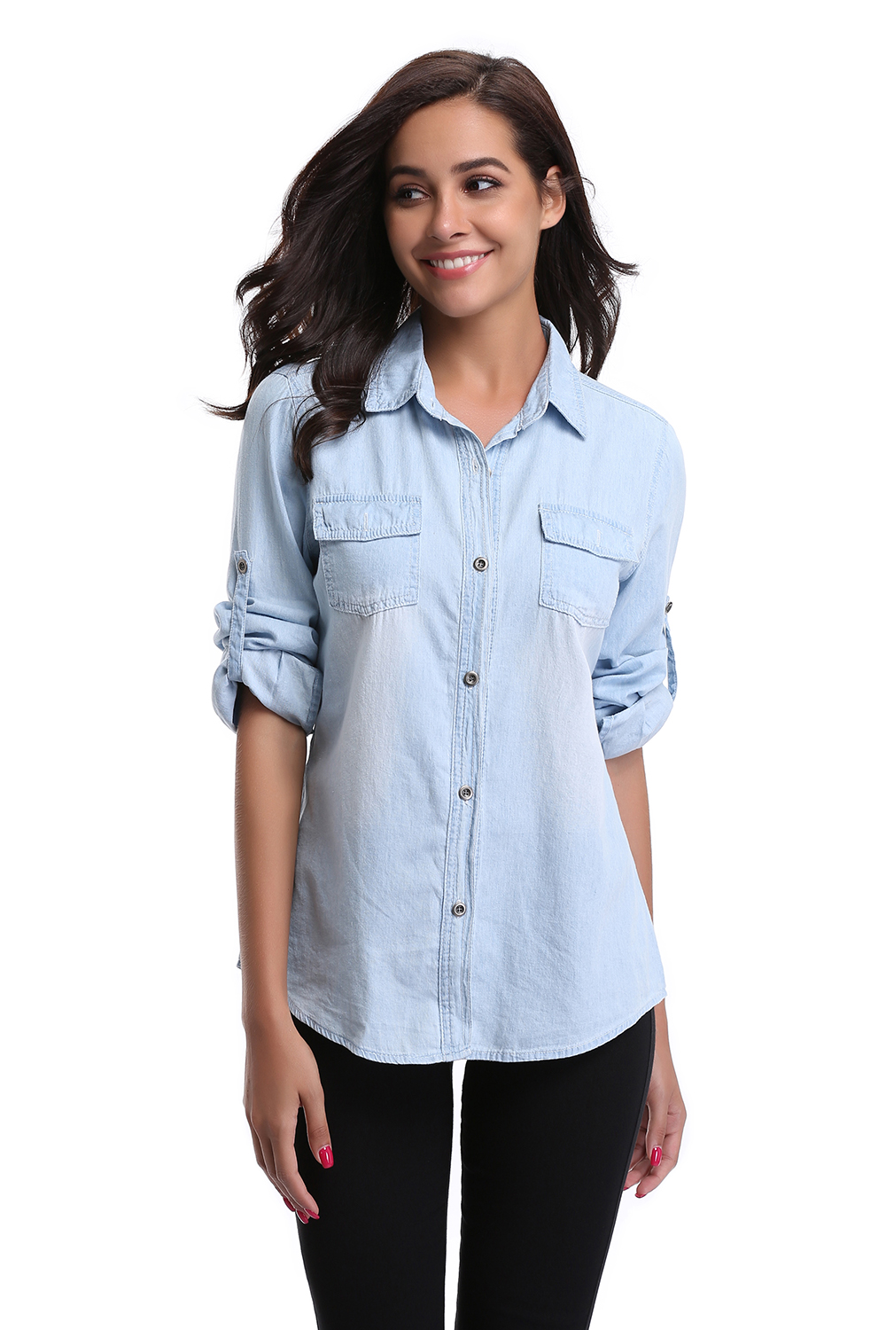 best sale womens chambray shirt top denim shirts and
