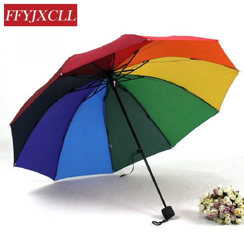 Fashion rainbow children umbrella umbrellas water sun Extreme Popularity Creative Three Folding Umbrella Free Shipping