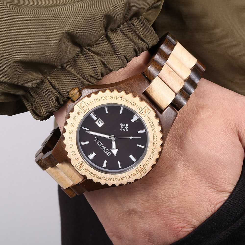 BEWELL Горячая продажа мужские деревянные водонепроницаемые кварцевые часы Деревянный ремешок Календарь Роскошные мужские часы relogio masculino