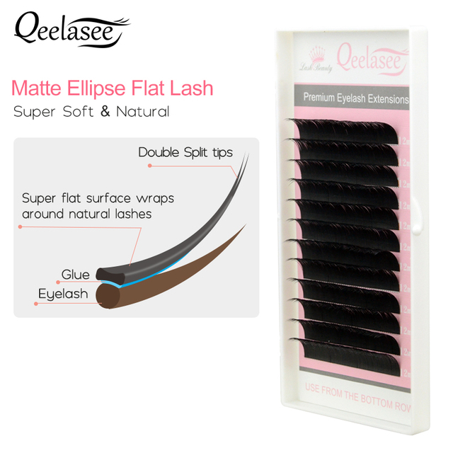 bd39788323d New Matte Flat Eyelash Extensions Individual Mink 0.15 0.20 Softer Ellipse Flat  Lash Split Tips Ligher Volume Looking