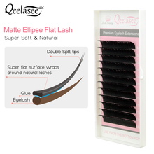 Qeelasee 10 trays matte flat lashes split tips individual mink ellipse shaped natural lighter and softer false eyelashes