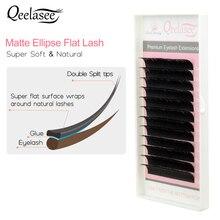 Qeelasee 10 лотков, матовые плоские накладные ресницы, накладные ресницы в форме эллипса, натуральные, легкие и мягкие
