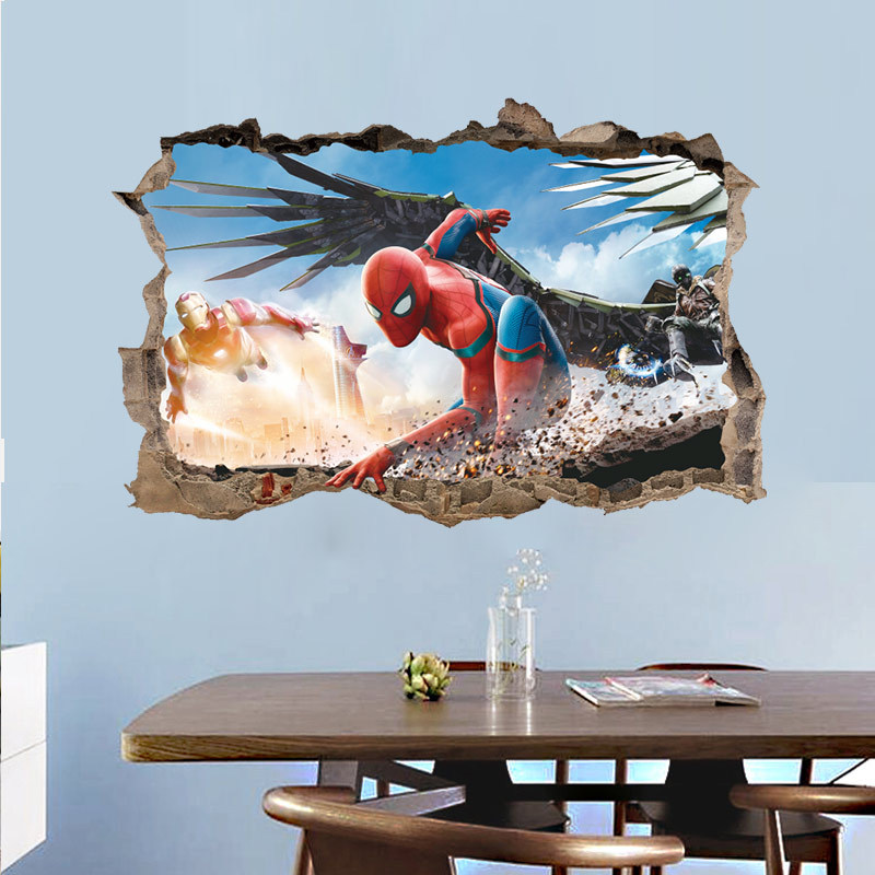 % Cartoon Spiderman 3d Effect Wall Sticker For Kids Rooms bedroom Childrens Wall Decals Boys Room Decor Mural Poster wallpaper