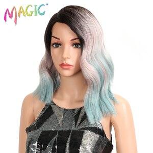 Image 2 - Волшебные короткие волнистые термостойкие парики, синтетические кружевные передние парики, 15 дюймов, средняя часть, безклеевые парики для черных женщин, плотность 150