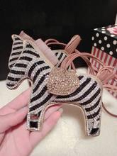 Brillo bling cuero de caballo caballo caballo encantos del bolso grande bolsa de mujer linda encantos encantos del bolso de estampado de zebra bling del rhinestone encantos