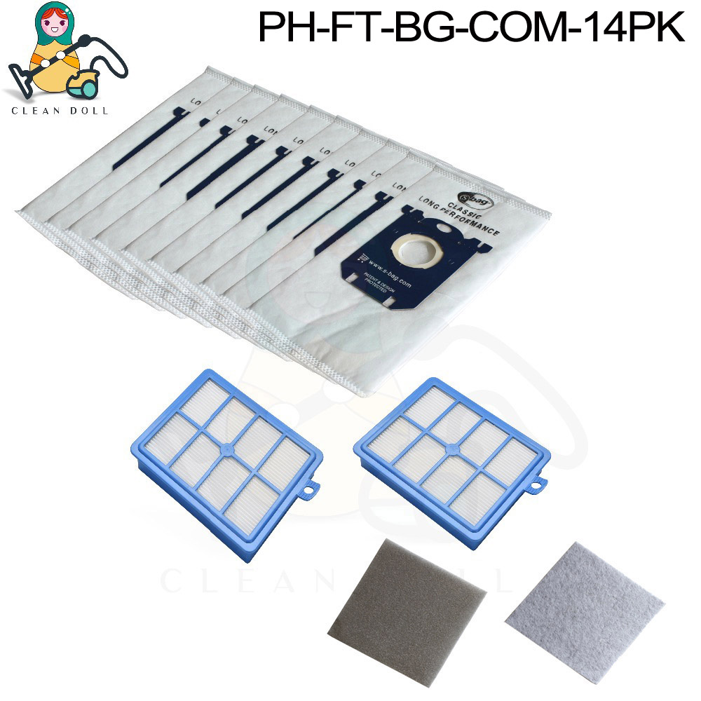 14-Pack H12 Motor Filter HEPA Filters Bags For Vacuum Cleaner Philips S-Bag For FC9071 FC9150 FC9174 FC9010 FC9180 HR8310 Parts