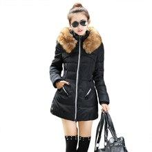 2016 мода Зима Парки новые прибытия большой меховой воротник с капюшоном чистый цвет плюс размер XXXL Женщины Пальто тонкий длинный Падения 6002