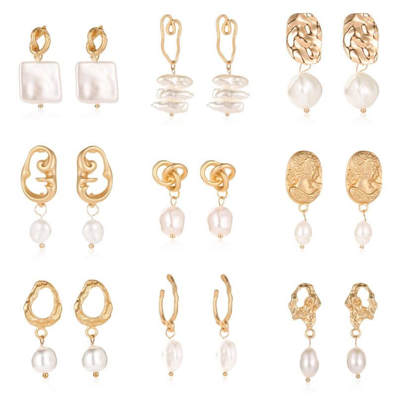 Modyle Trendy Korea Design Metal Gold Geometric Irregular Circle Square Natural Freshwater Pearl Drop Earrings for Women