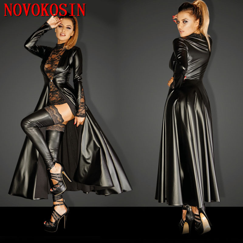 Women Patent Leather Bodysuit Hooded Cloak Gothic Dress Cosplay Clubwear Costume