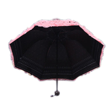 Practical Women's Princess Dome/Birdcage Sun/Rain Folding Umbrella For Wedding Lace Trim pink