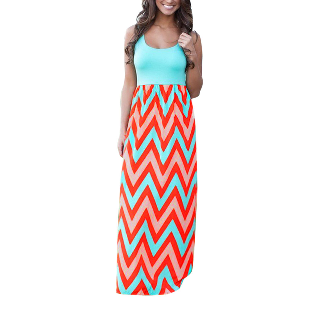 Women dress plus size Bohemia Womens Striped Long Boho Dress Lady Beach Summer Sundrss Maxi Dress May.30