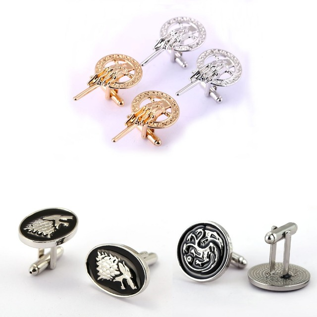 US $1 49 25% OFF|Game of Throne Cufflinks for Mens Stark Cuff Buttons  Targaryen Shirt Wedding Song Of Ice And Fire Jewelry gift Cuff Links-in Tie