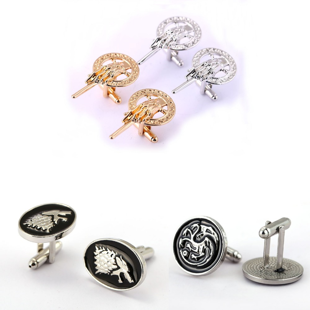 Game of thrones Cufflinks for Mens Stark Cuff Buttons Targaryen Shirt Wedding Song Of Ice And Fire Jewelry gift Cuff Links