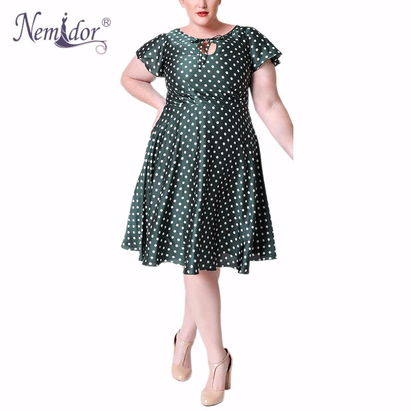 Unique_Vintage_Plus_Size_1940s_Style_Emerald_Ivory_Polka_Dot_Formosa_Swing_Dress_5