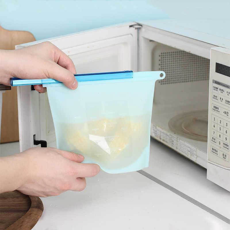 Food Silicone Fresh Bag Reusable Vacuum Sealed Freezer Bag Slide Lock Snacks/Sandwiches/Meat Marinades Storage Bags Kitchen Tool