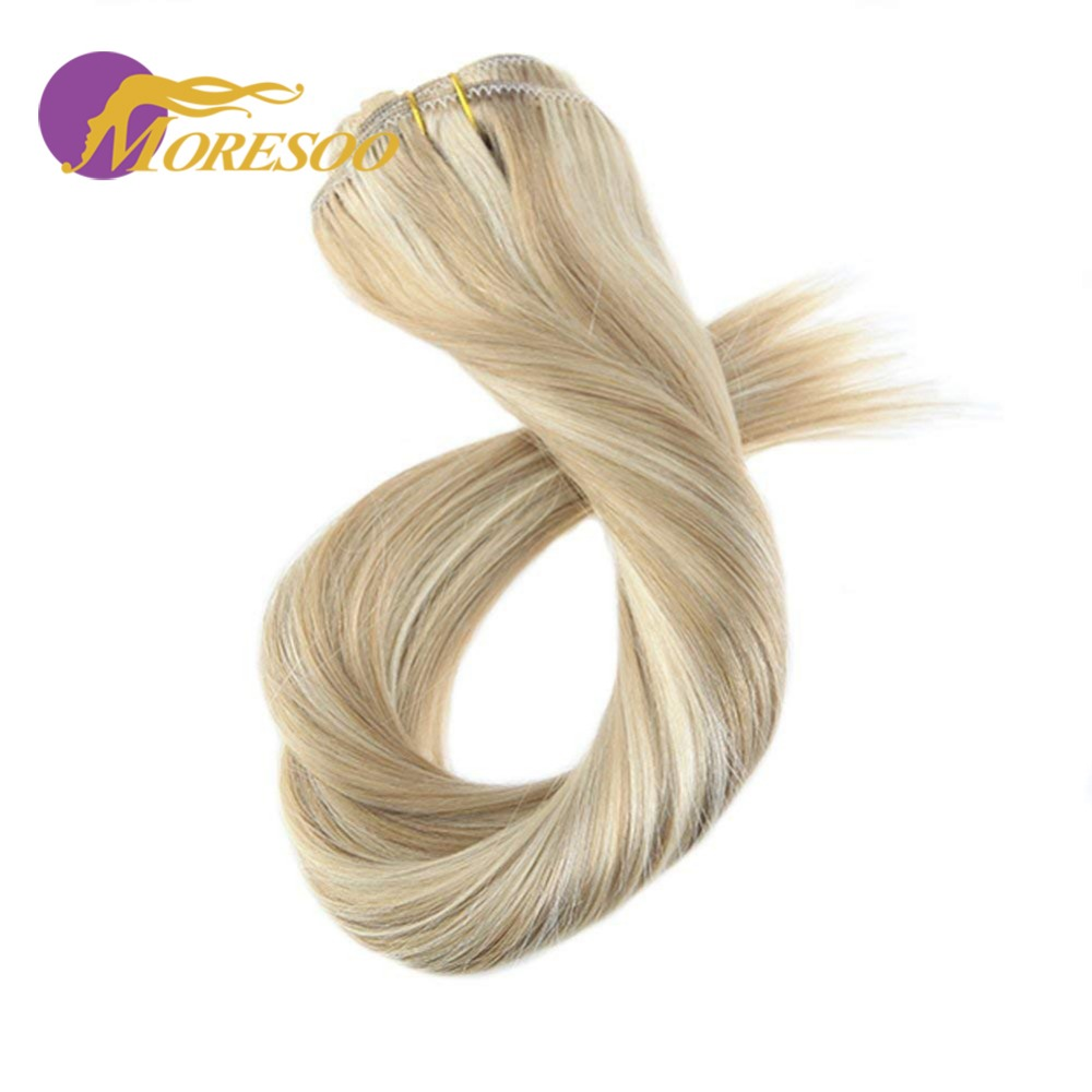 Moresoo Straight Clip In Hair Extensions Human Hair Machine Remy Clip Ins Double Weft 16-24 Inch 7Pcs 100g Brazilian Hair