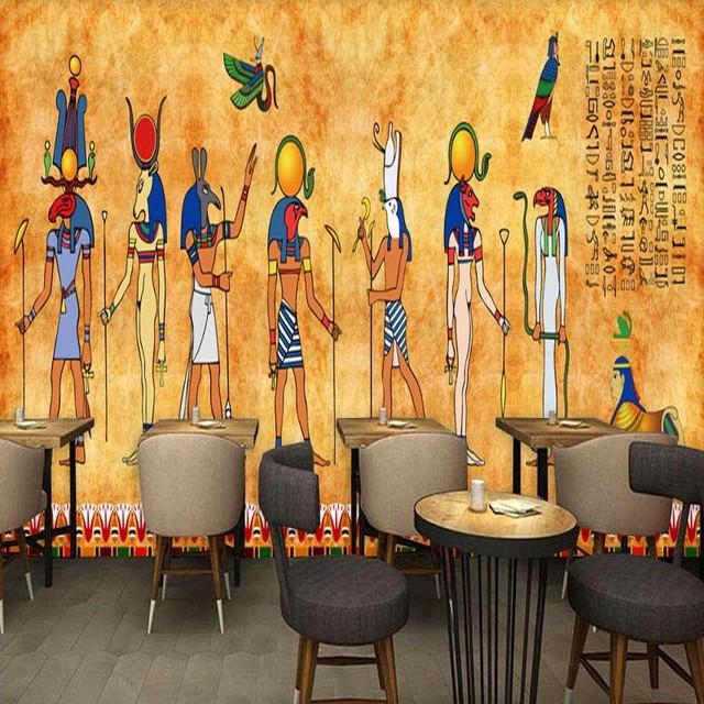 Photo Wallpaper Retro Egyptian Fresco Custom Bedroom Living Room Bar Restaurant Background Wall Mural