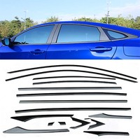 1 Set Full Carbon Fiber Design Windows Stainless Steel Molding Trim Decoration Strips Exactly Fitted For Honda Civic 10th