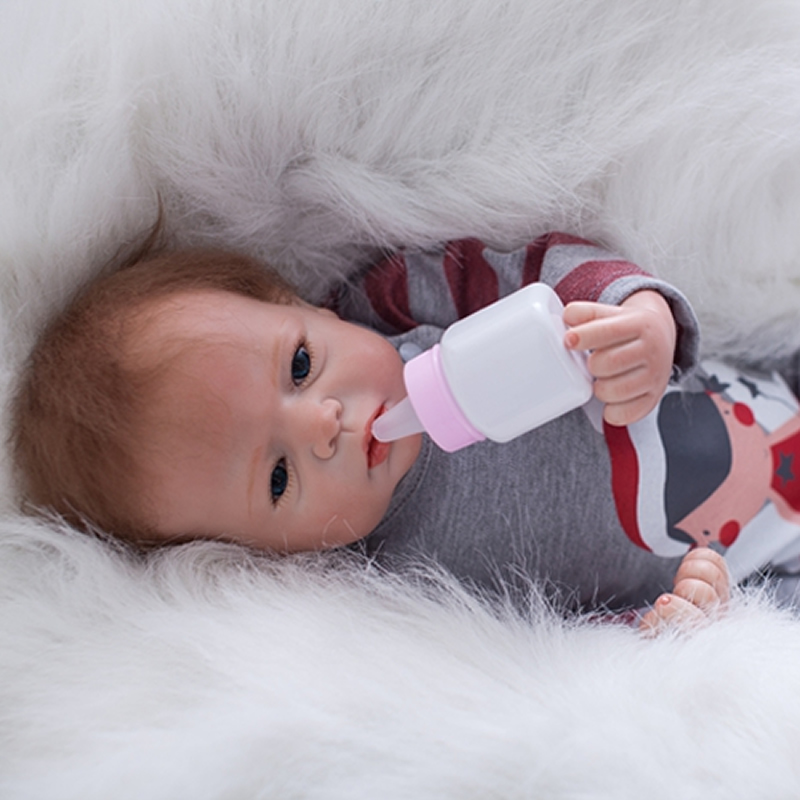 Blue Eyes Reborn Baby Dolls 22 Inch Newborn Lifelike Silicone Babies Toy Cloth Body Alive Girl Doll With Rooted Mohair For Sale