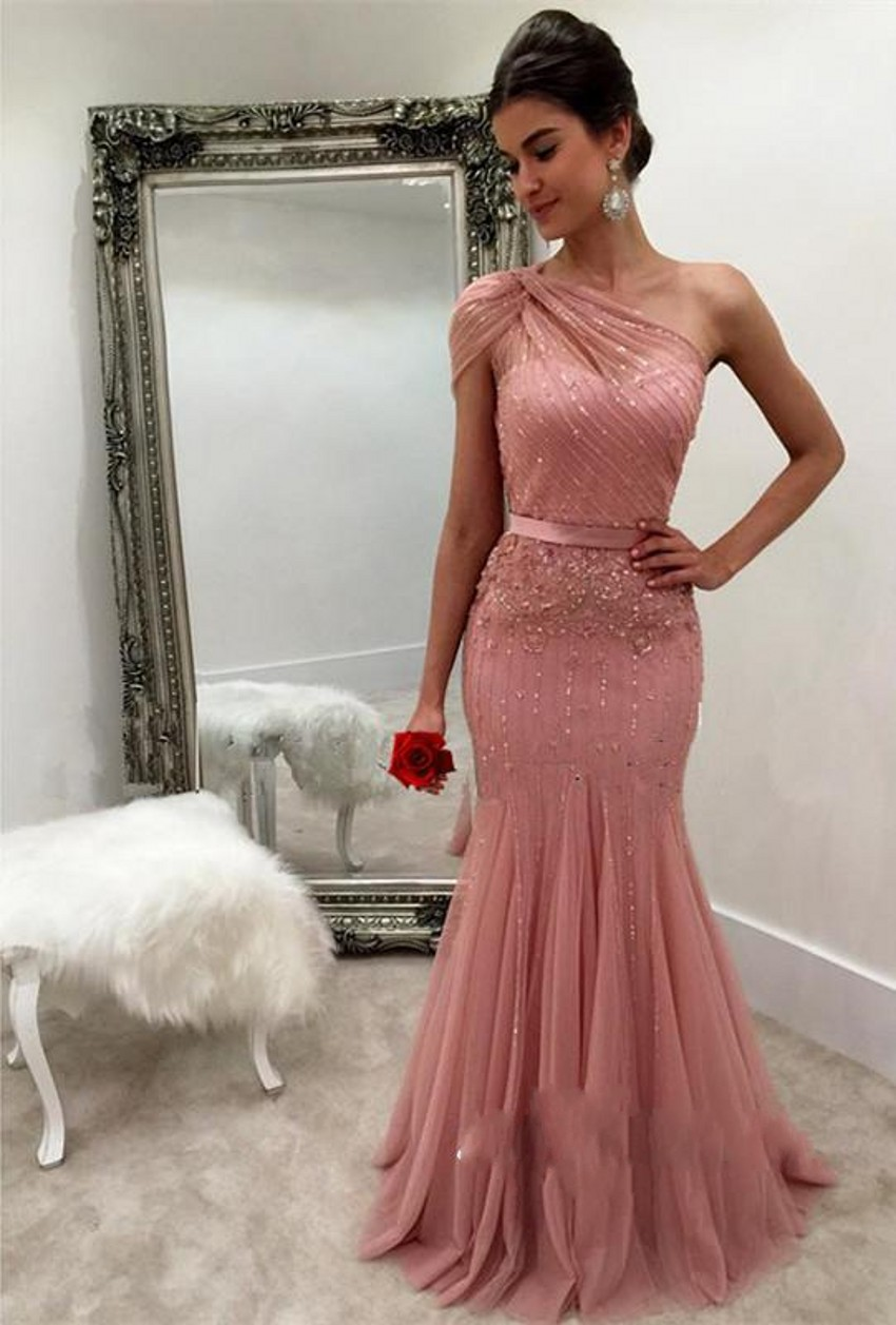 Buy Cheap 2017 One Shoulder Pink Mermaid Prom Dresses Sequin Beaded Tulle Zipper Back Formal Prom Evening Gowns vestido de fiesta