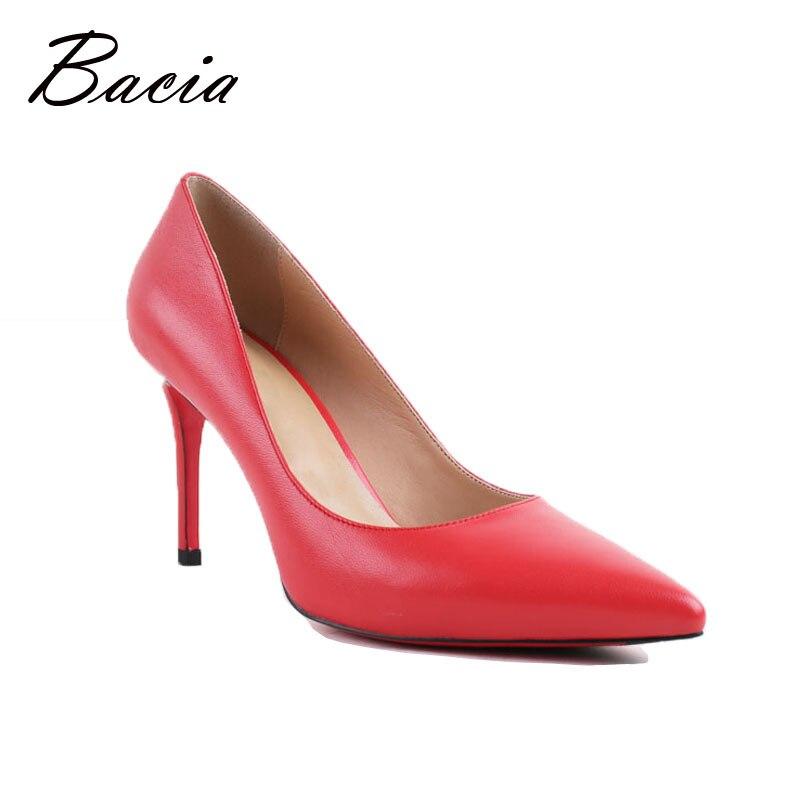 Bacia Women High Heel Shoes Basic Model Pumps Lady Sexy Pointed Toe Wedding Shoes Pink Red Pumps Handmade Sheepskin Shoes VB034