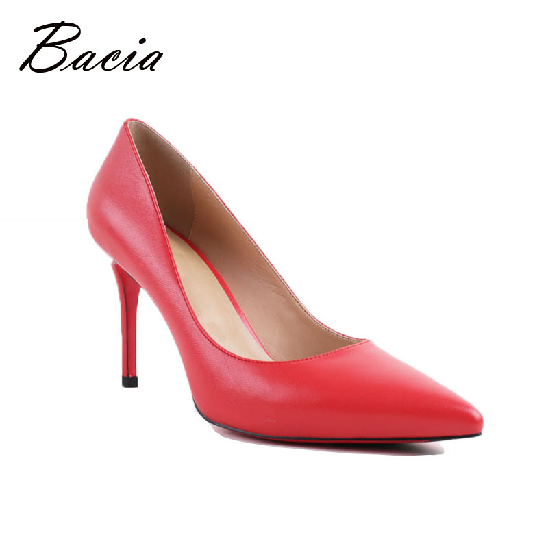 Bacia Women High Heel Shoes Basic Model Pumps Lady Sexy Pointed Toe Wedding Shoes Pink Red Pumps Handmade Sheepskin Shoes VB034