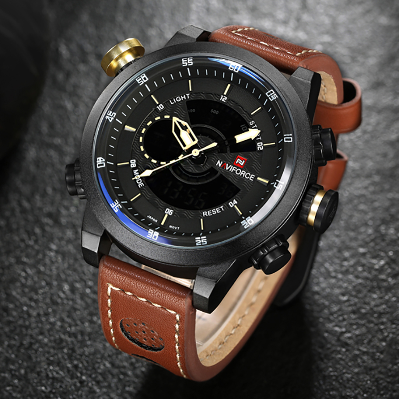 2017 New NAVIFORCE Top Brand Sport Dual Display Wristwatches Waterproof Leather Watch Men Casual Military Watches montre homme