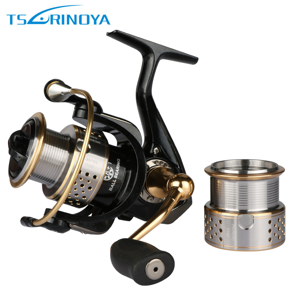 Trulinoya FS2000 Spinning Fishing Reel+1 Metal Spare Spool Saltwater Lure Fishing reel 8+1BB Gear Ratio 5.2:1 coonor j12 9 1bb metal spool fishing reel 5 1 1 gear ratio spinning reel full metal spool with double t shape handles