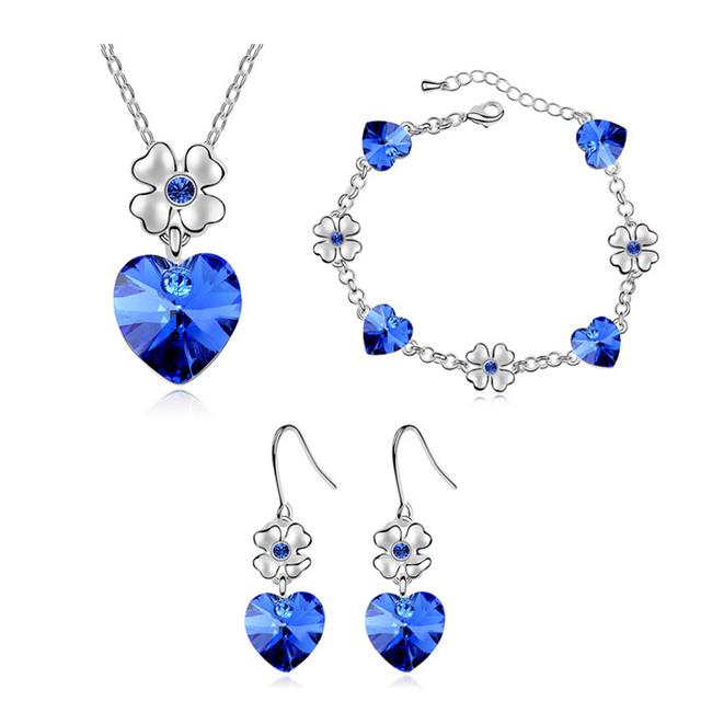 Kryštálová súprava šperkov SRDCE & KVET Jewelry set Crystal HEART & FLOWER 7colors