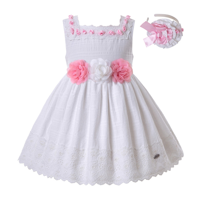 36b5e000f52de Pettigirl Summer Baby Princess Girls Dresses White Lace Flowers Wedding  Party Dress With Headwear Kids Clothes G-DMGD201-B504