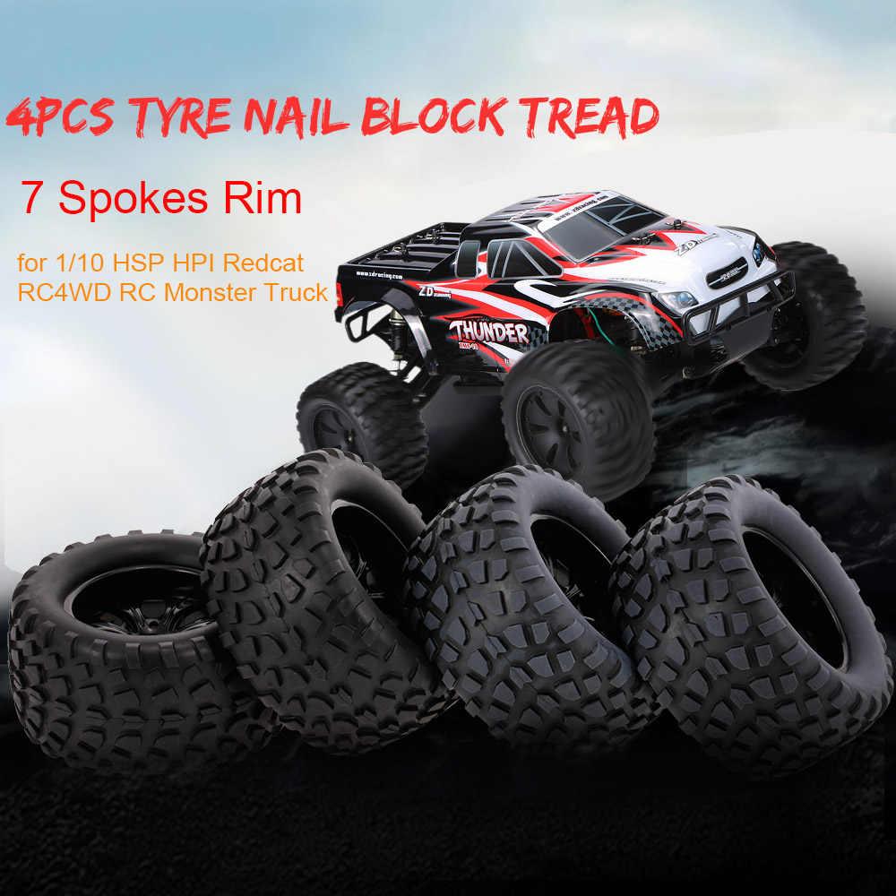 4 piezas RC coche 1:10 neumático clavo bloque patrón 7 radios llanta para 1:10 HSP HPI Redcat RC4WD AXIAL RC automóviles