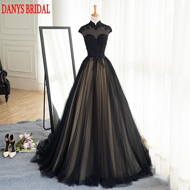 Svart långa Lace Evening Dresses Party Tulle Pärlstav High Neck - Särskilda tillfällen klänningar - Foto 1