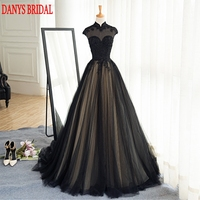 Black Long Lace Evening Dresses Party Tulle Beaded High Neck Beautiful Women Prom Formal Evening Gowns Dresses Wear