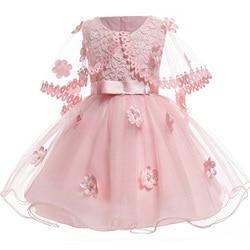 0a2756d1ffad8 Bébé filles Vintage rose fleur infantile robes princesse bébé robe de  baptême châle baptême 1 anniversaire
