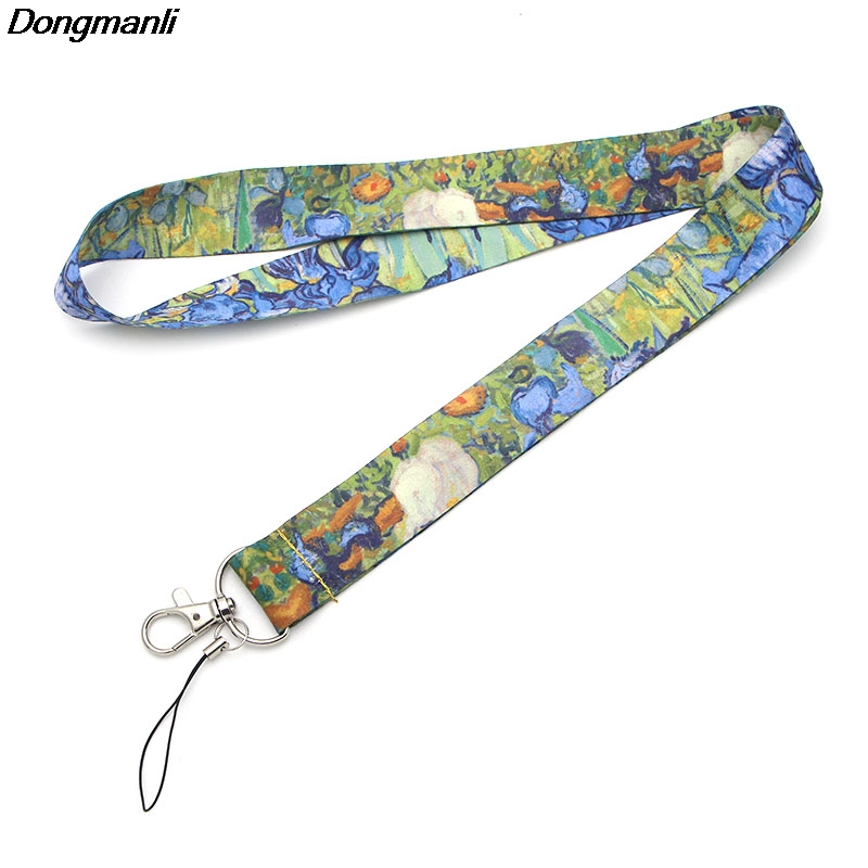 F511 Van Gogh's Oil Painting The Starry Night Badge Lanyards/ Mobile Phone Rope/ Key Lanyard Neck Straps Accessories