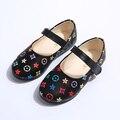 Chica Zapatos de Cuero Otoño 2016 Nueva Impresión de La Manera Zapatos de La Escuela Para Niños Simples Zapatos de Los Niños Ocasionales 9081 W