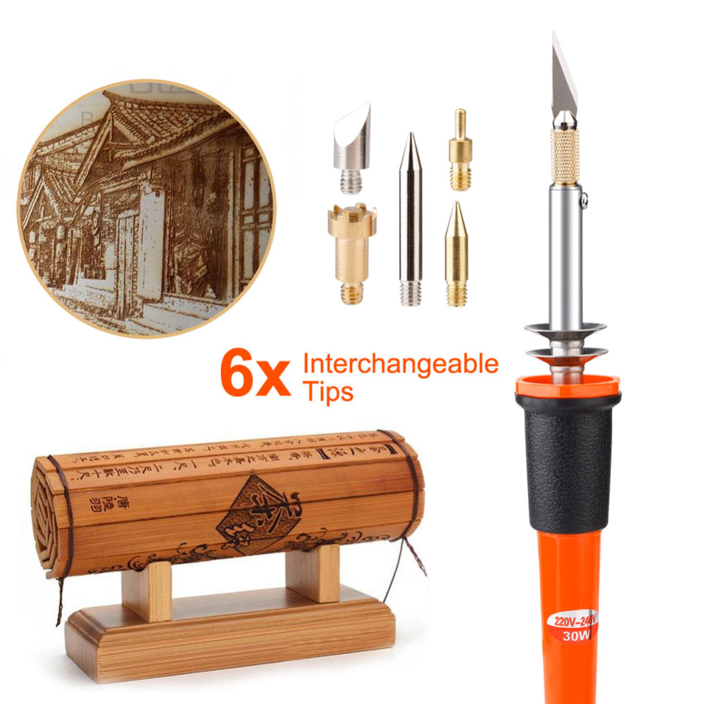 Adjutable Electric Soldering Iron Woodburning Solder Pen Wood Burning Pen Sets Digital Soldering Iron Tool Kit New UK Plug