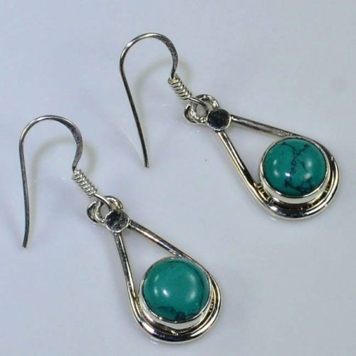 Hand make Nature Turquoise Earrings 100% 925 Sterling Silver 33mm 3.2g Gift BOX