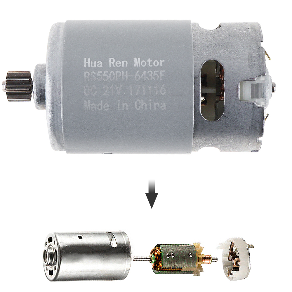 RS550 12 V 16,8 V 21 V 13500 RPM DC Motor con una sola velocidad 9 dientes y caja de engranajes de alto par para destornillador de taladro de carga inalámbrico