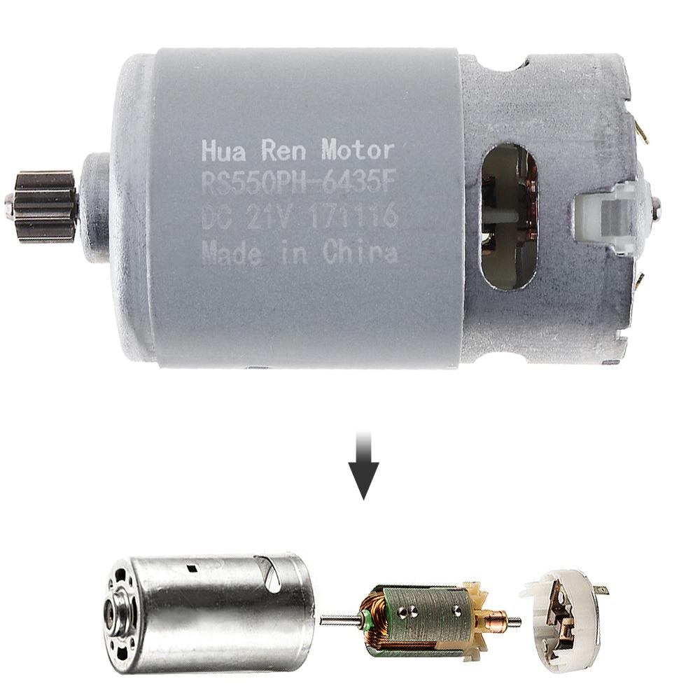 RS550 12 V 16,8 V 21 V 13500 RPM Motor de corriente continua con una sola velocidad 9 dientes y engranajes de alto par caja de carga inalámbrico destornillador