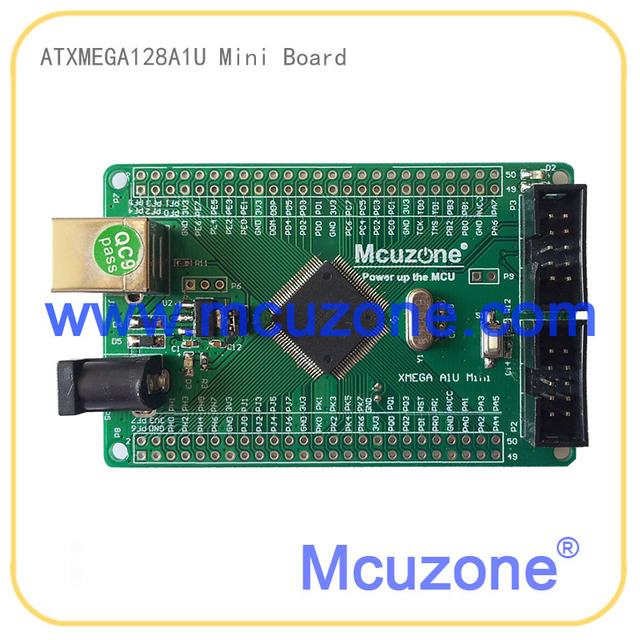 ATMEL ATxmega128A1U mini board, 12Bit ADC, 12Bit DAC, 8UART, USB 2.0 Full Speed Device, JTAG PDI, USB Bootloader preloaded