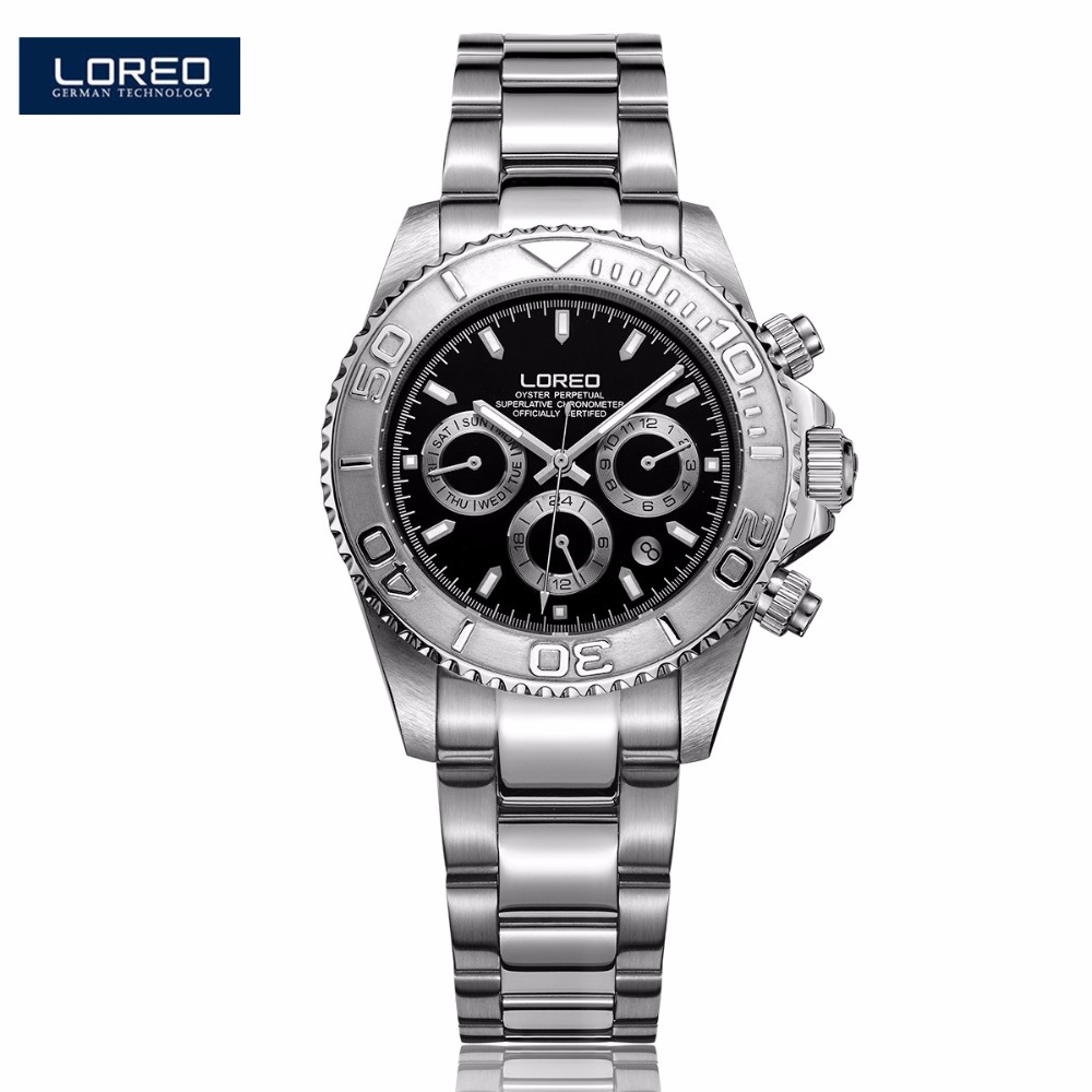 Design LOREO Auto Date Watches Steel Brand Automatic Mechanical Watch Men Watch 200M Waterproof Luminous Wristwatches AB2062