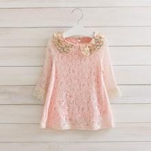 Spring Lace Long Sleeve Princess Dress Deguisement Enfant Pink Sequins Baby Girl Clothes Roupas Infantis Menina Vetement Fille
