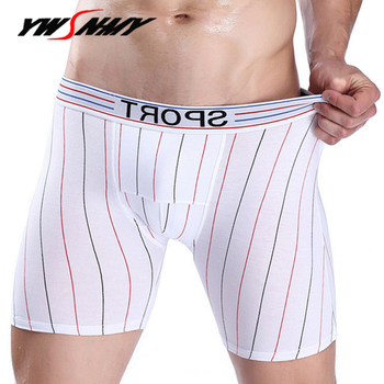 Long boxers underwear men fitness defense friction thigh design short pants bodysuit shorts homme sportswear boxer underpants