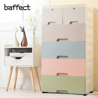 5 Layers Storage Cabinets DIY Assembly Storage Drawer Children Clothes Movable Solid Plastic Colorful Wardrobe Closet Box