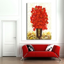 Hand Painted Knife Oil Painting On Canvas Modern Red Flower Canvas Painting Wall Paintings for Living Room Home Decor No Framed