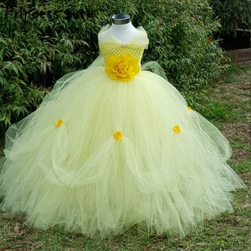 PRINCESS TUTU Yellow Belle Costume Handmade Flower Kids ...